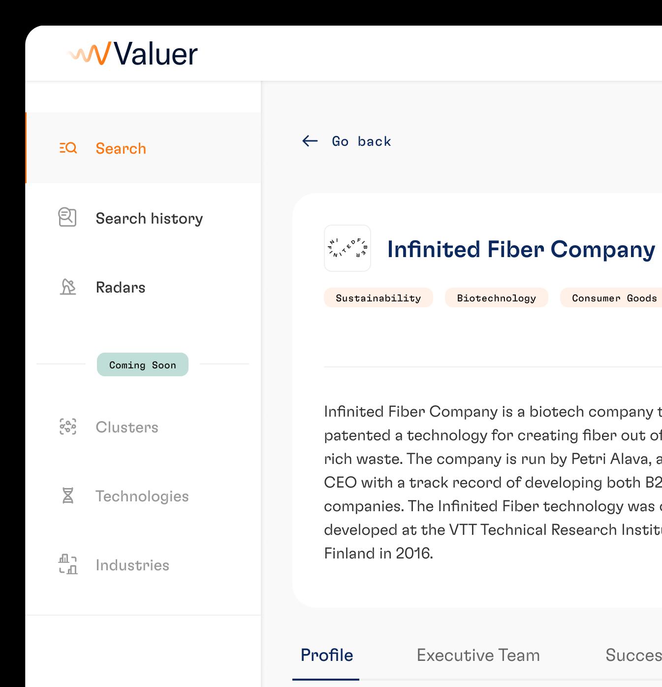 Valuer platform on screen